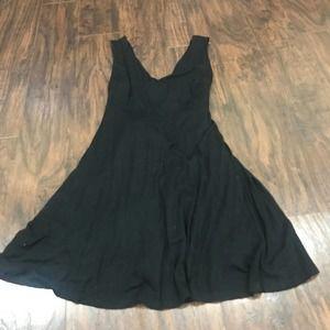 Lulu's black plunge front strappy back mini dress